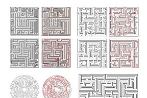 Set of different labyrinths