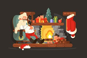 Santa Claus on chair near fireplace