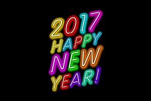 2017 happy New Year neon