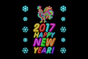 2017 New Year design. neon vector