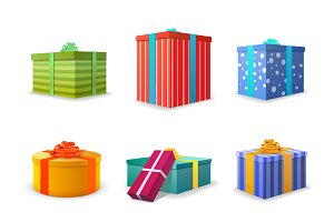 Set of 9 colourful bright gift boxes