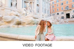 Little girls Fountain of Trevi Rome