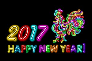 2017 happy New Year neon rooster