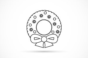 Christmas wreath thin line icon