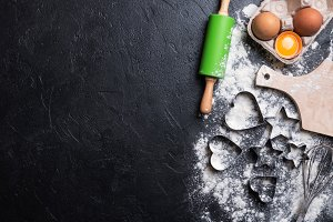 flour and ingredients for baking