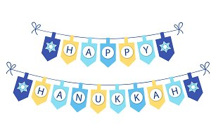 Happy Hanukkah bunting flags