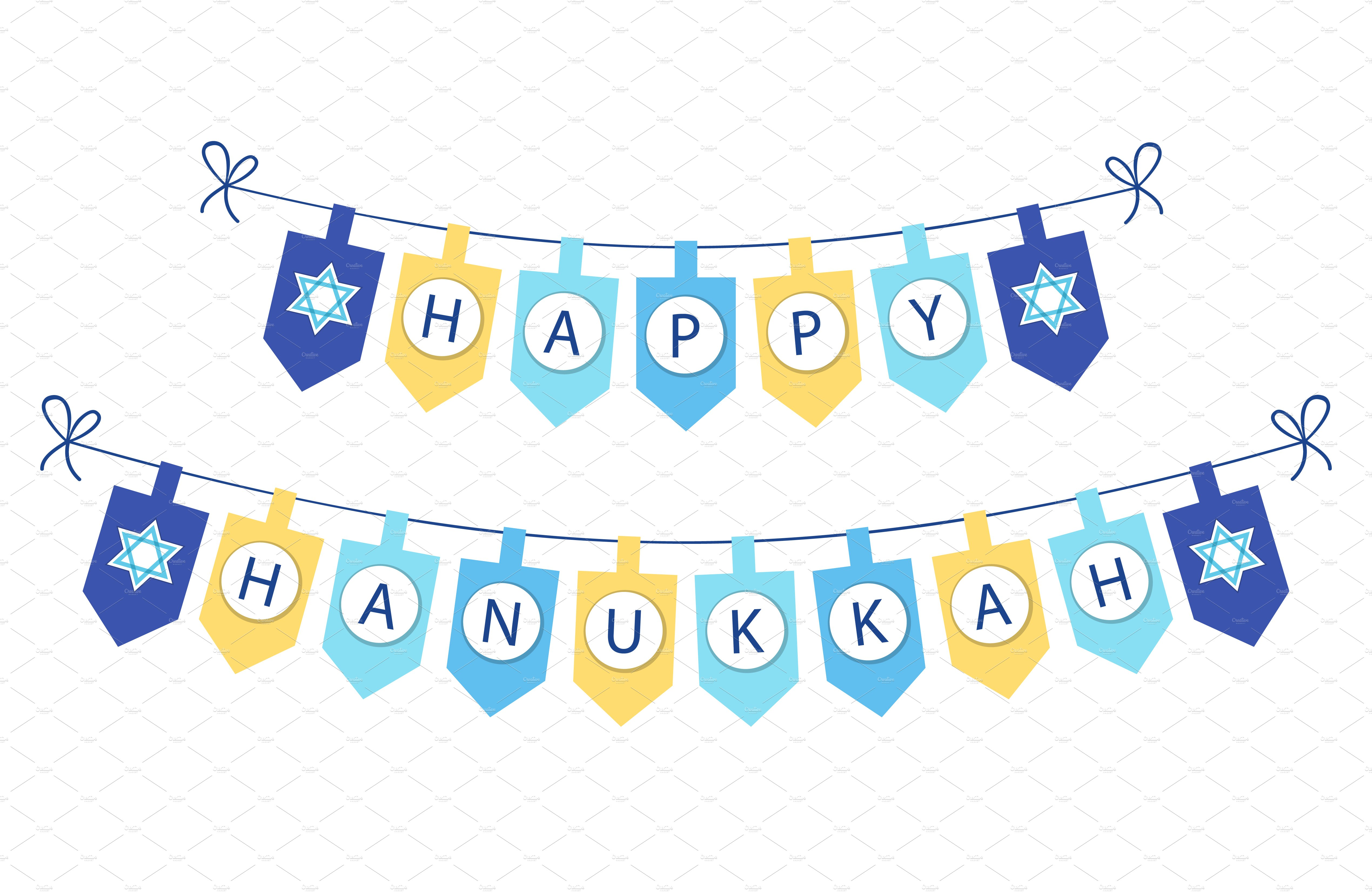 Happy Hanukkah Bunting Flags Illustrations Creative Market