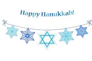 Festive bunting Happy Hanukkah