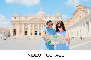 Happy couple tourists with map Rome