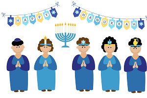 Hanukkah cute children characters