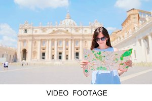Young woman city map in Vatican city