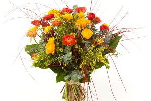 Ranunculus flowers bouquet isolated