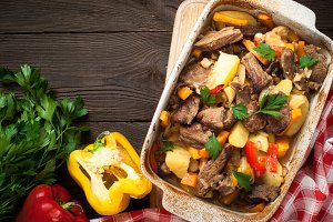Stewed beef with pumpkin and vegetables.