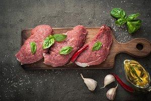Raw beef chop