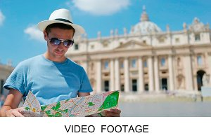 Travel tourist man with map Vatican