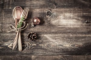 Background wooden cutlery