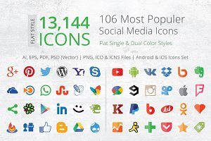 212 Flat Social Media Icons