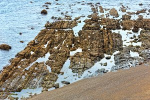 Rock formations near shore.