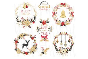 Gold Christmas Wreath Elements