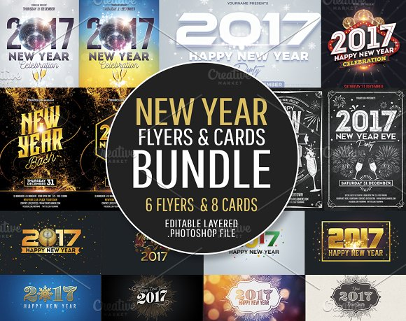 New Year Flyers & Cards Bundle - Flyers