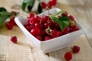 sweet cherries and raspberries