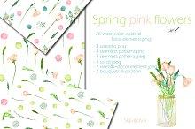 Spring pink flowers set