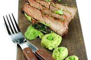 Roasted Pork and Green Pea Puree