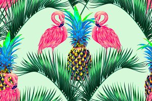 Pink flamingos,pineapples pattern