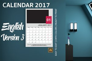 English Wall Calendar 2017 Version 3