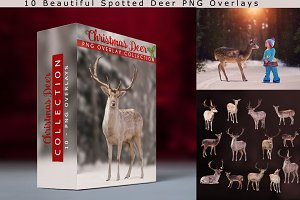 10 - Christmas Deer PNG Overlays