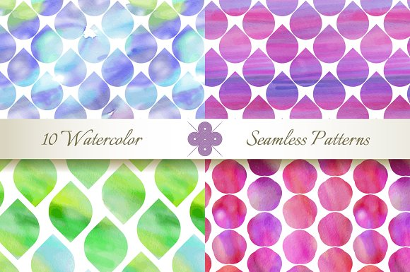 Seamless Watercolor Patterns in Patterns - product preview 1