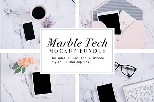 Marble Tech Mockup Bundle