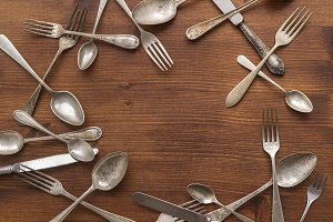 Forks, spoons and knives on a table