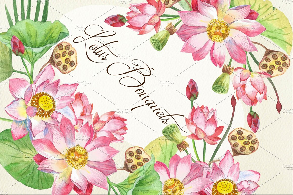 Lotus Flowers Bouquets And Wreaths Illustrations Creative Market