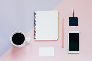 Office items on pastel background