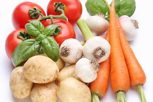 Group of fresh vegetables on white background
