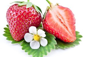 Strawberry fruit with slice