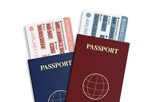Passports with airplane tickets