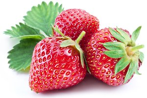 Strawberries with leaf isolated