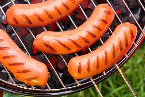 Sausages on a grille