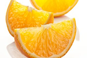 Orange slices on a white.