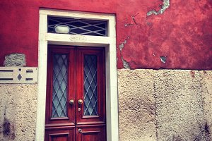 Old Village Red Wall and Door