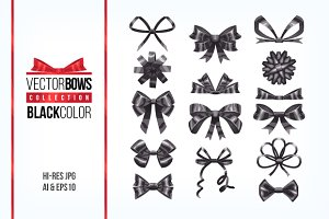 Set of black bow knots elements