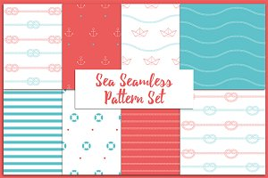 Sea Seamless Pattern Set