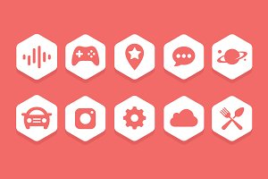 Flat Hexagon Icon Collections