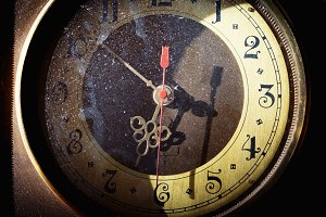 Old clock face close up