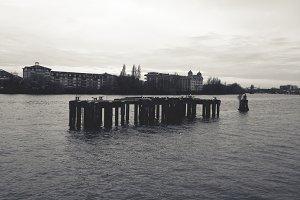 Wooden Pier in River