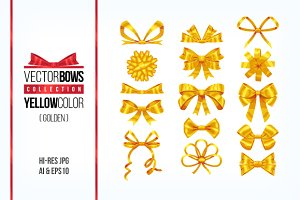 Set of golden bow knots elements