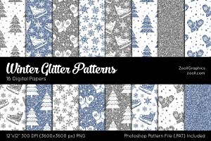 Winter Glitter Digital Papers