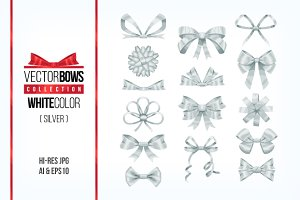Set of silver bow knots elements